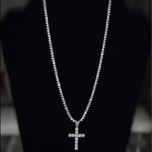 """3 prong 18"""" 3mm Tennis Chain 925 Sterling Silver"""